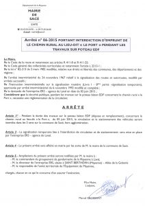 Arrêté n° 06-2015 portant interdiction d'emprunt du CR le Port le 05.06.2015