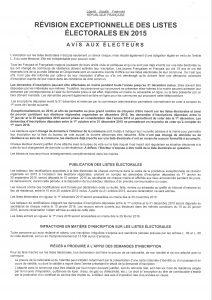 Révision liste électorale 2015