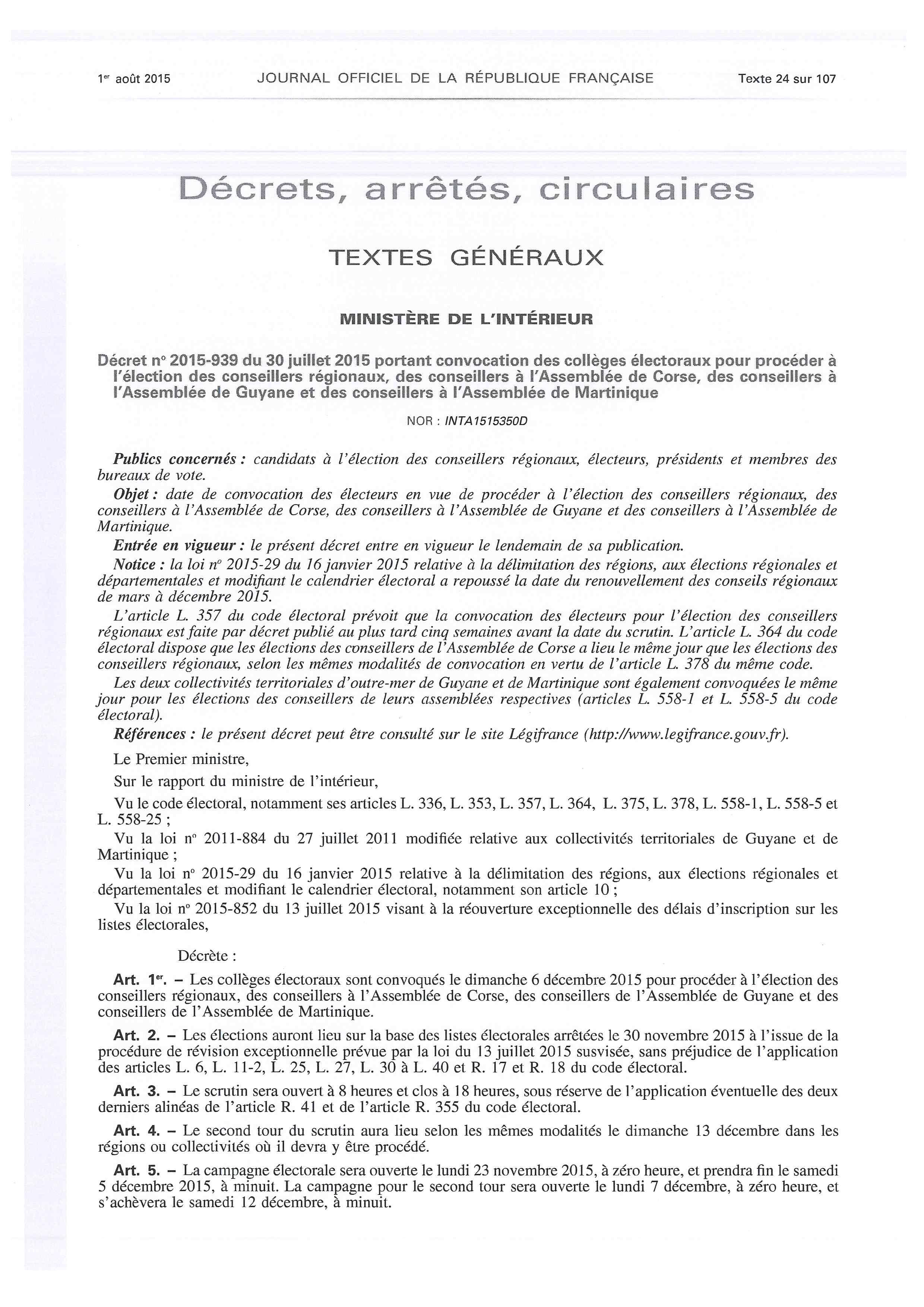 ELECTIONS REGIONALES 2015 Décret convocation électeur