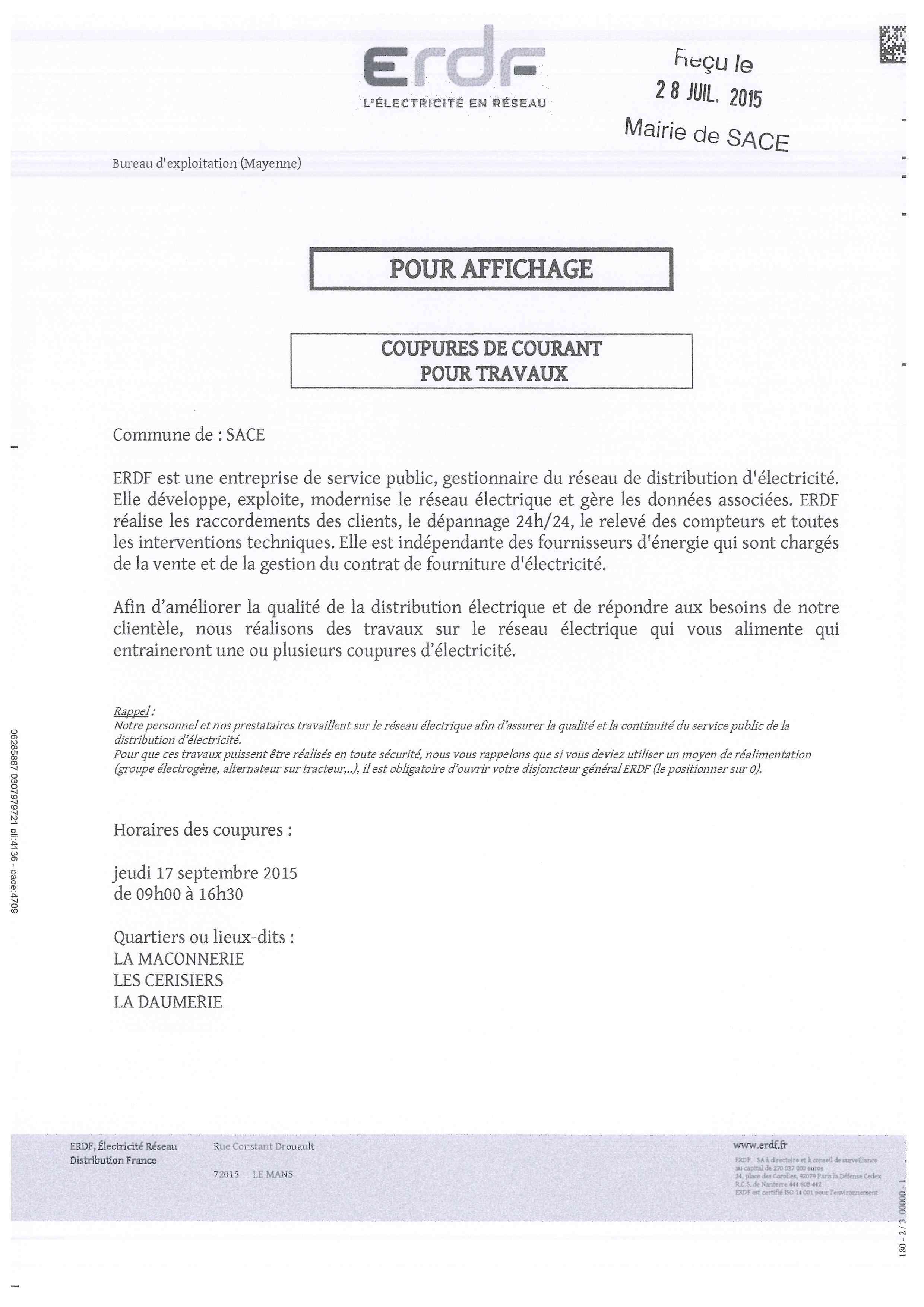 ERDF Coupure courant 17.09.2015