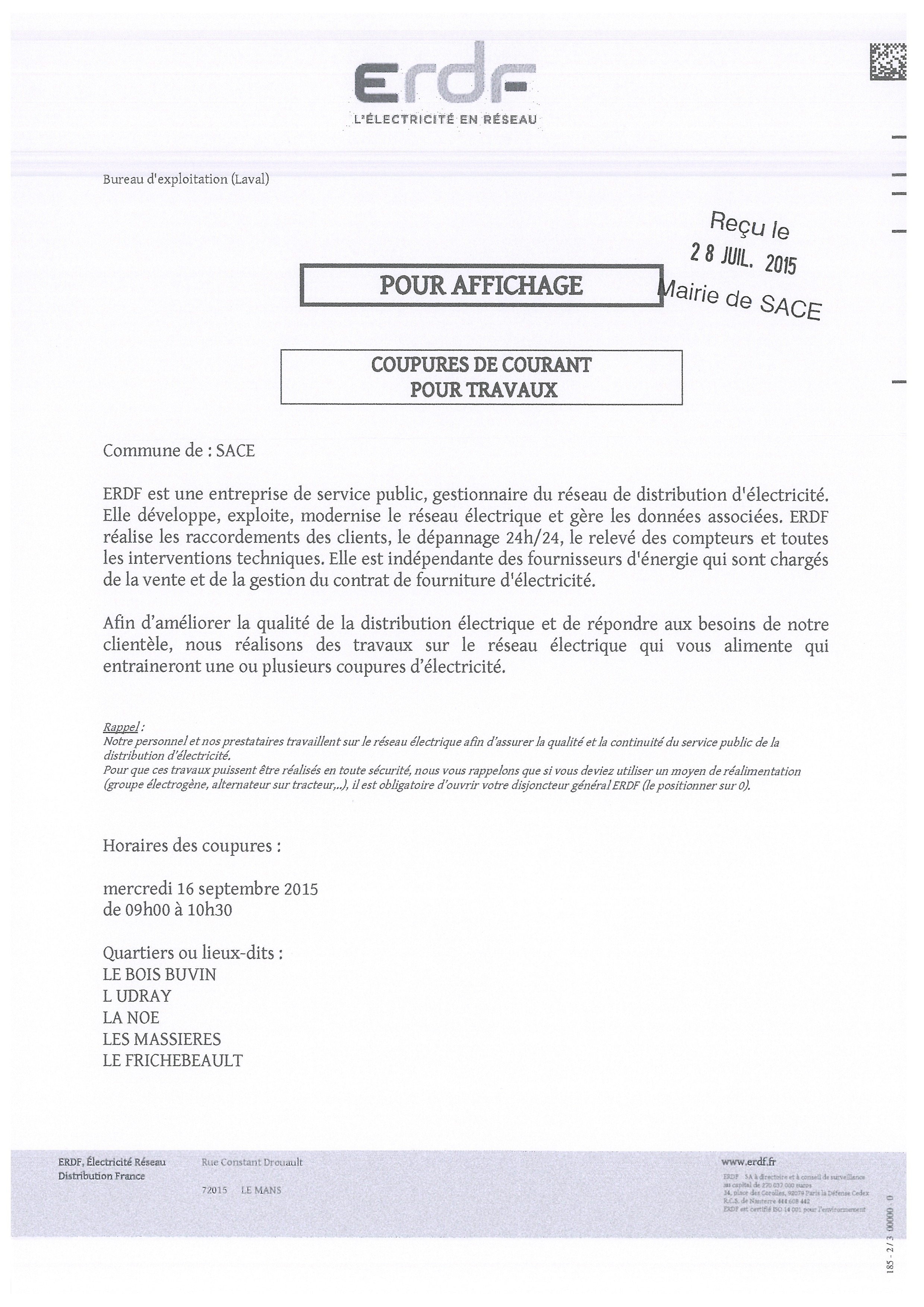 ERDF Coupure de courant 16.09.2015