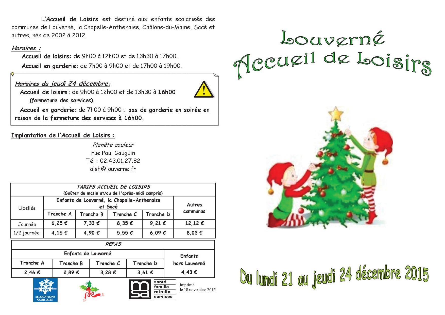Vacances Noël 2015