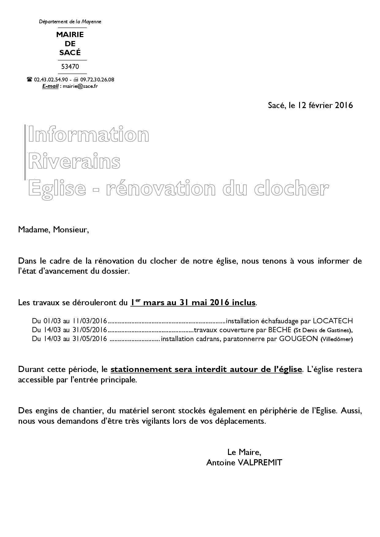 EGLISE - Information riverain 12.02.2016