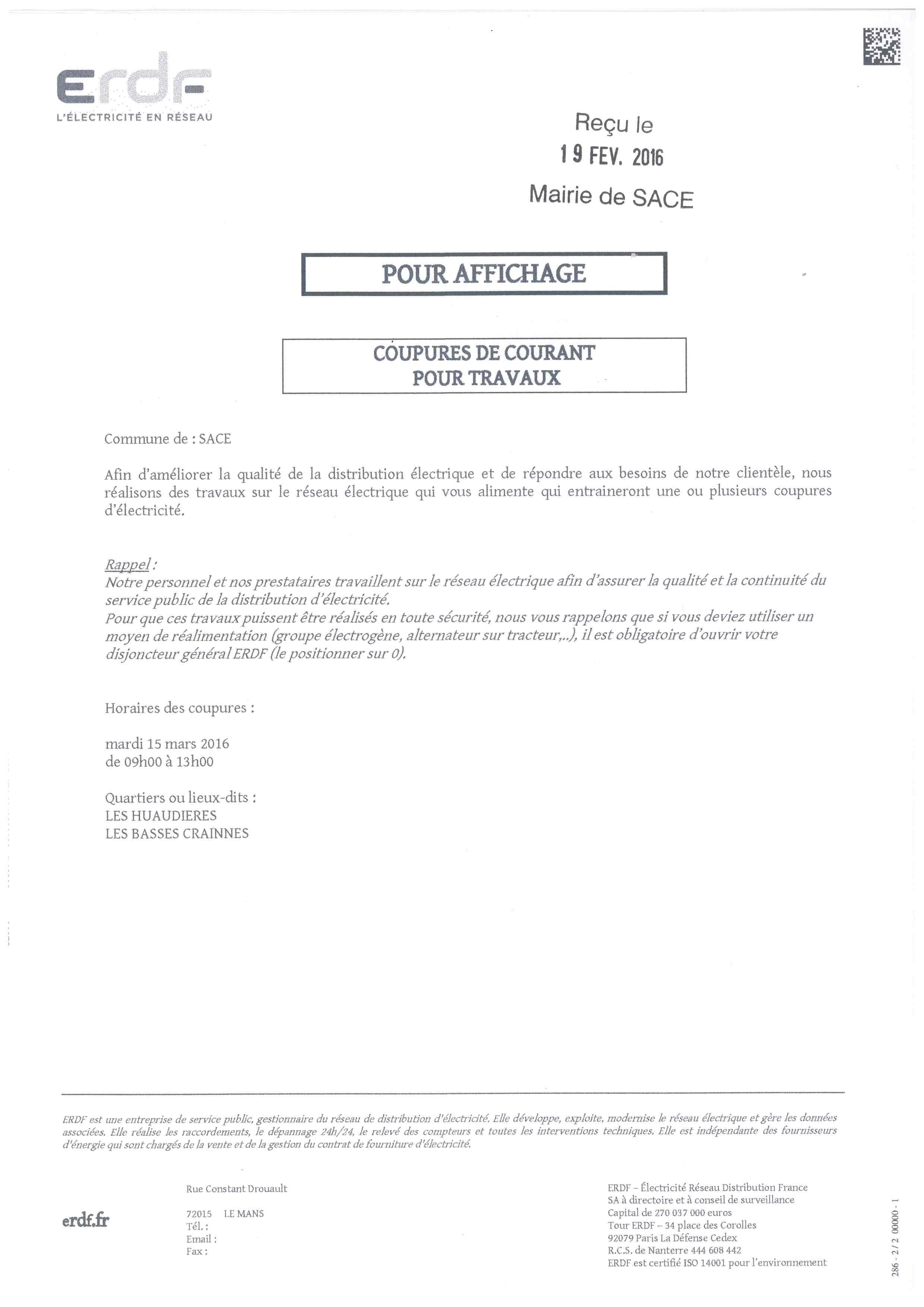 EDF Coupure le 15.03.2016