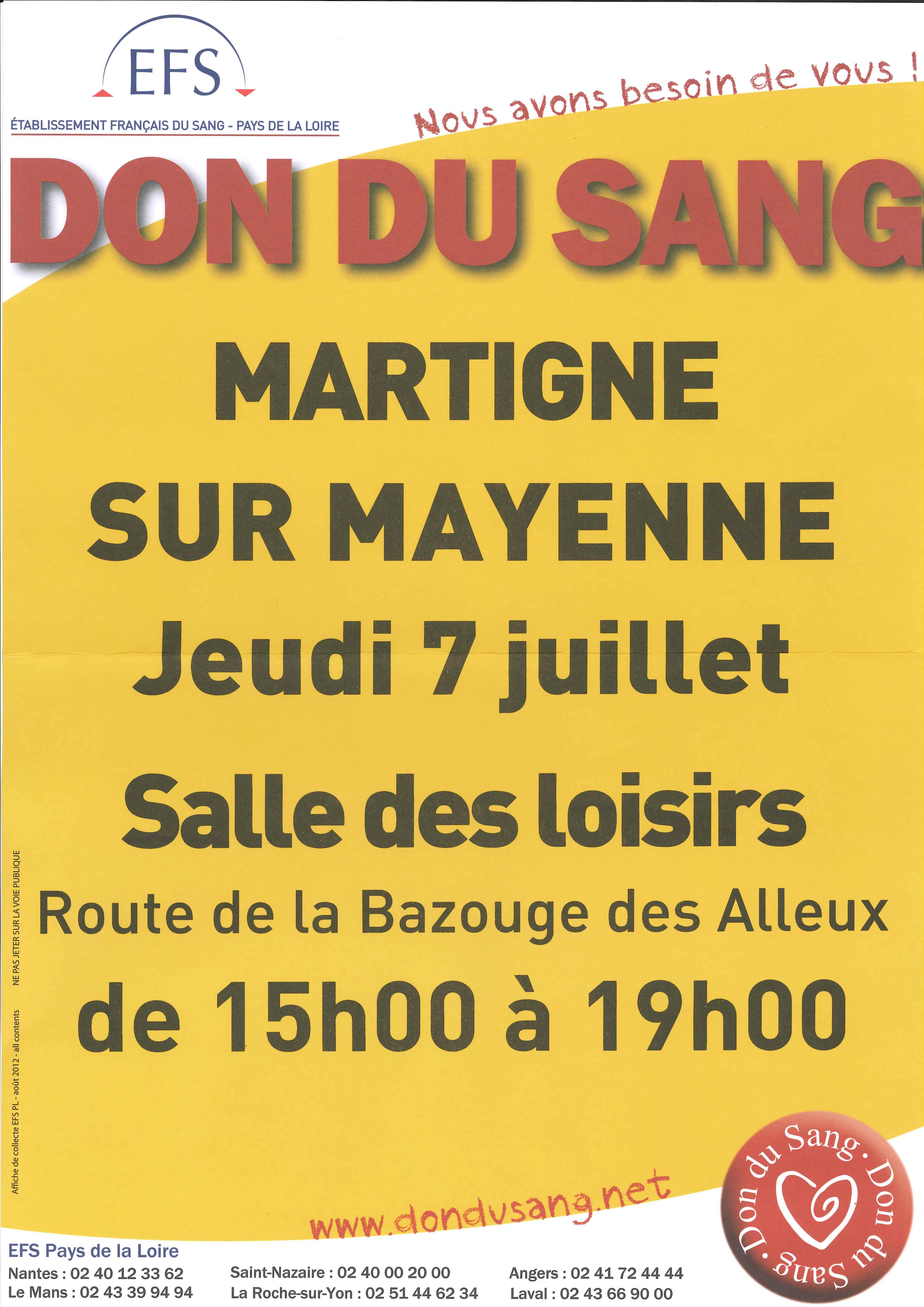 MARTIGNÉ Don du sang @ Salle des Loisirs | Châlons-du-Maine | Pays de la Loire | France