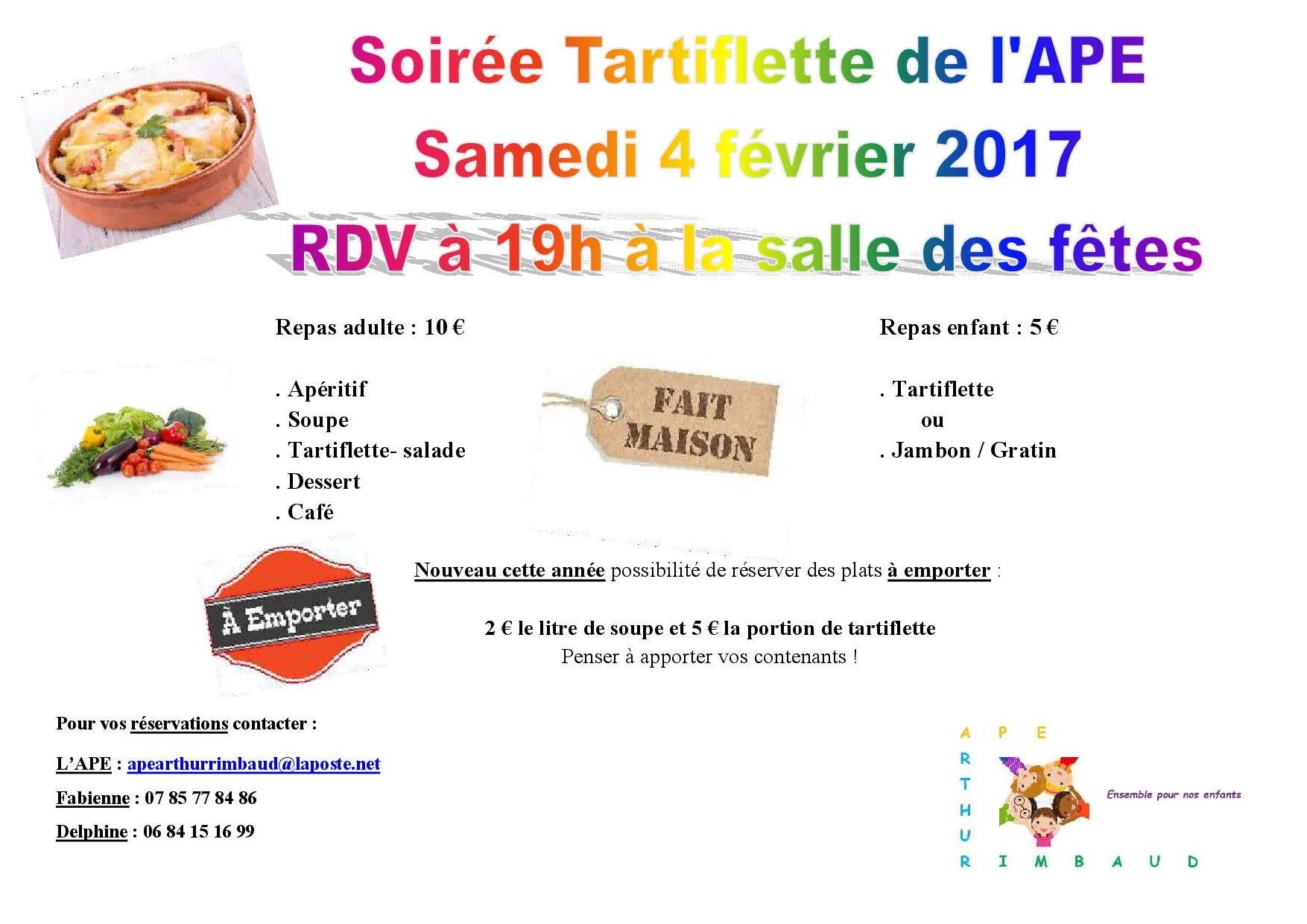APE (Parents d'Elèves) - Soirée tartiflette @ Salle des fêtes   Sacé   Pays de la Loire   France