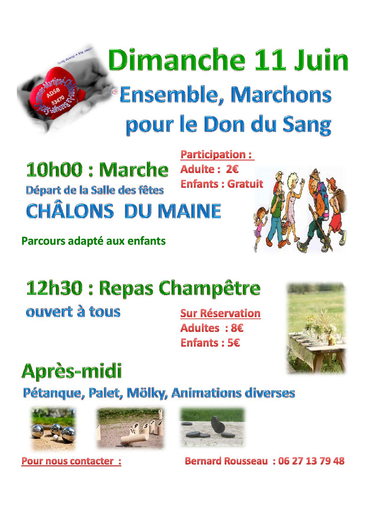 Ensemble, marchons pour le don du sang @ Salle des fêtes | Châlons-du-Maine | Pays de la Loire | France