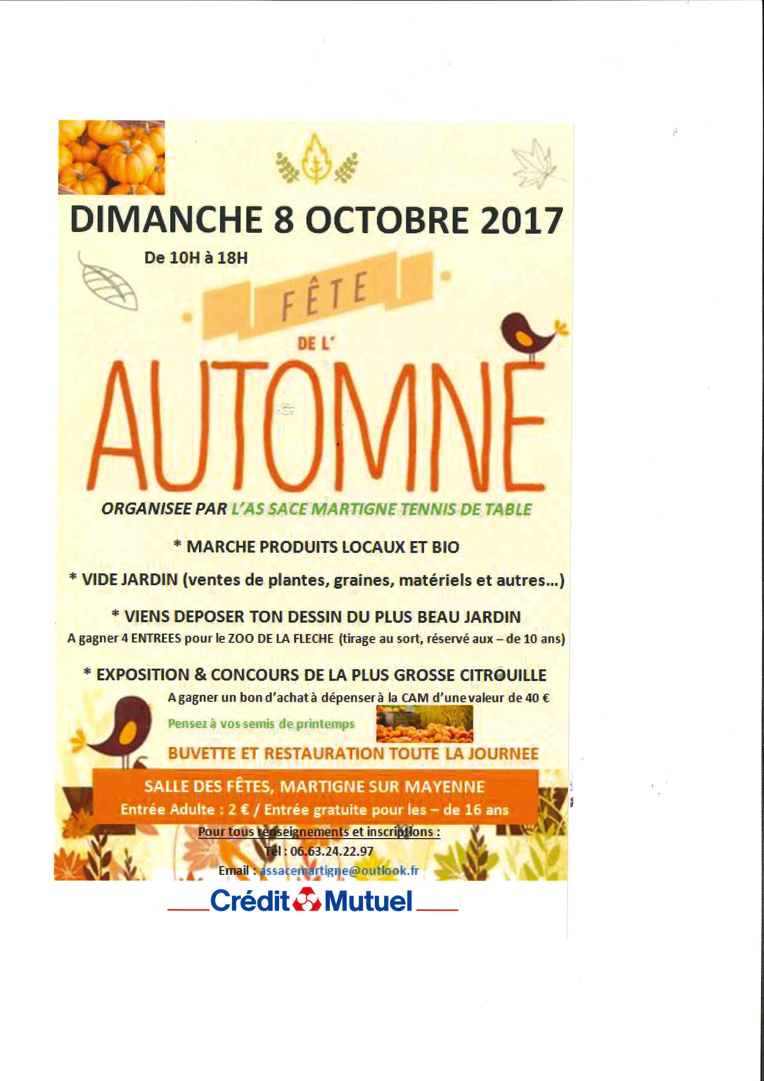 Fête de l'automne 2017 par l'AS SACE MARTIGNE Tennis de Table @ Salle des fêtes | Martigné-sur-Mayenne | Pays de la Loire | France