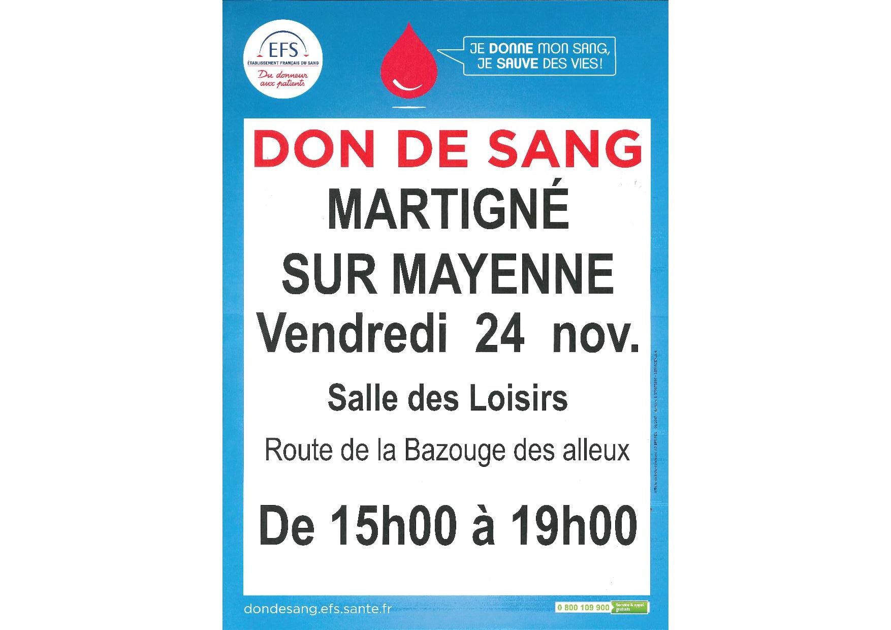 Don du sang Martigné-sur-Mayenne @ Salle des Loisirs | Châlons-du-Maine | Pays de la Loire | France
