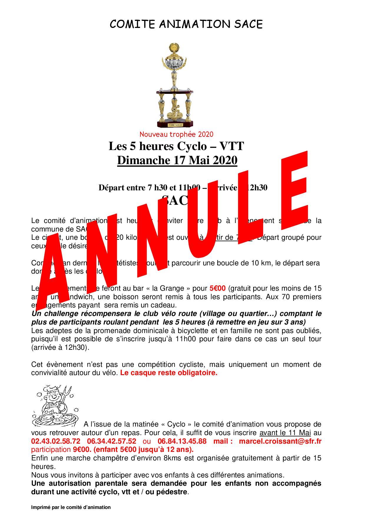 Comité d'Animation - Cyclo 5 heures ANNULE