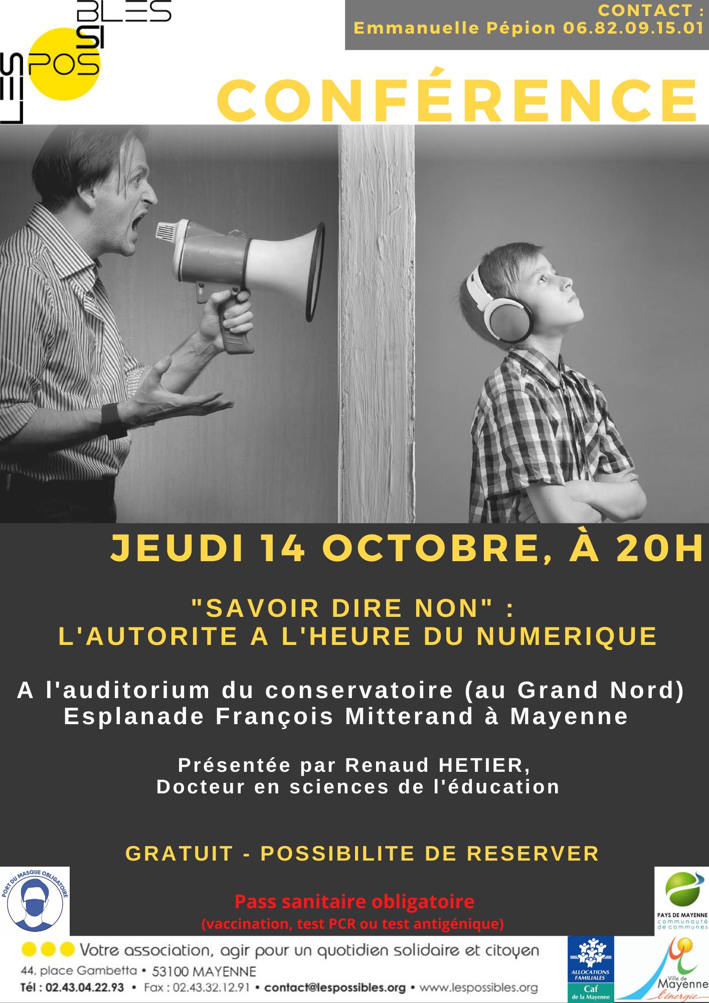 """Conférence """"Savoir dire non : l'autorité à l'heure du numérique"""" @ Le Grand Nord - Auditorium"""